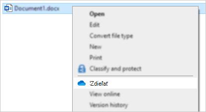 Ponuka kliknutia pravým tlačidlom myši zobrazujúca príkaz Zdieľať vo OneDrive