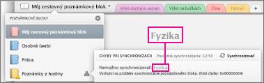 Zoznam poznámkových blokov schybami synchronizácie