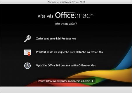 Snímka obrazovky uvítacej stránky pre balík Office for Mac 2011