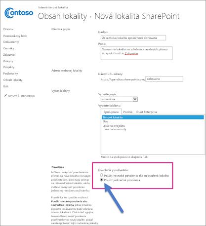 Na stránke Nové lokality SharePoint vyberte možnosť Jedinečné povolenia.