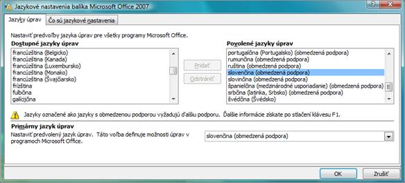Nastavenie jazyka v Office 2007