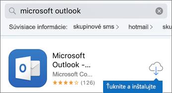 Ťuknutím na ikonu cloudu nainštalujte Outlook