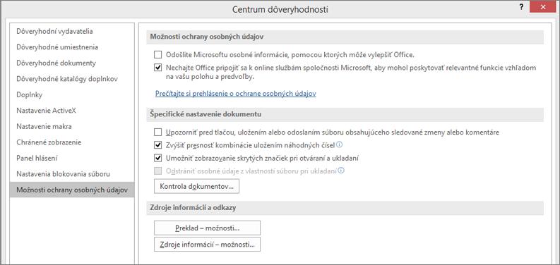 Zobrazenie možností ochrany osobných údajov vCentre dôveryhodnosti balíka Office