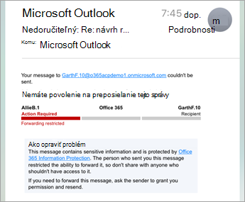 Príklad chráneného e-mailu v iPhone alebo iPade