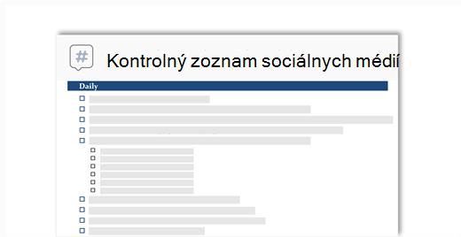 Schematický obrázok kontrolného zoznamu na sociálne médiá