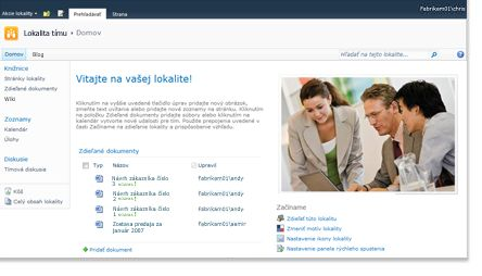 Tímová lokalita služby SharePoint