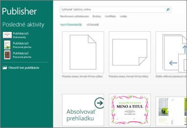 Snímka obrazovky sošablónami na domovskej obrazovke vPublisheri.