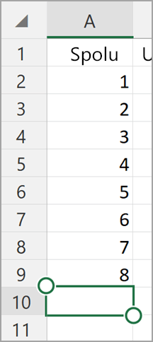 Automatický súčet pre Windows Tablet Excel