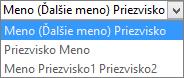 """Možnosti Outlooku v časti Ľudia, so zobrazenými možnosťami v zozname poradia """"Celé meno"""""""