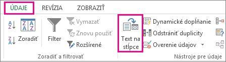 Kliknite na kartu Údaje a potom kliknite na položku Text na stĺpce