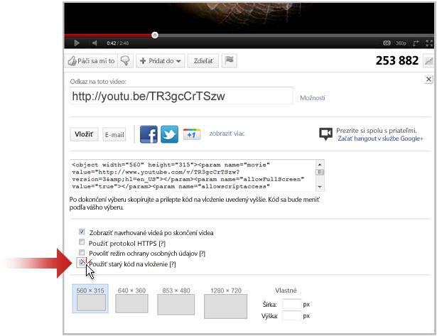 Prepojenie na video z lokality YouTube