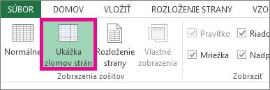 Na karte Zobraziť kliknite na položku Ukážka zlomov strán