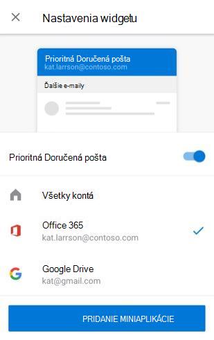 Pridanie miniaplikácie E-mail v Androide