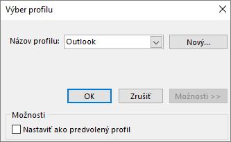 V dialógovom okne Výber profilu prijmite predvolené nastavenie Outlooku