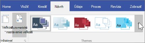 Snímka obrazovky s možnosťami panela s nástrojmi návrh > motívy
