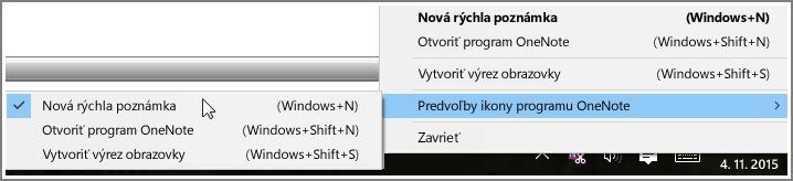 Snímka obrazovky zobrazujúca panel úloh s možnosťami OneNotu