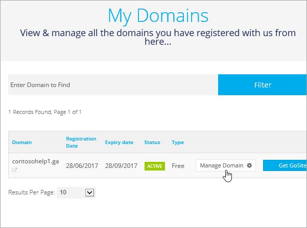 Výber položky Manage Domain (Správa domény) na lokalite Freenom_C3_2017530132047
