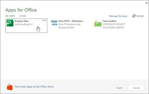 Snímka obrazovky s stránku aplikácie fpr balíka Office v časti Moje aplikácie, kde môžete zobraziť a spravovať aplikácie Project.