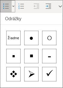 Tlačidlo zoznamu sodrážkami vybraté na páse snástrojmi ponuky Domov voOneNote pre Windows 10.