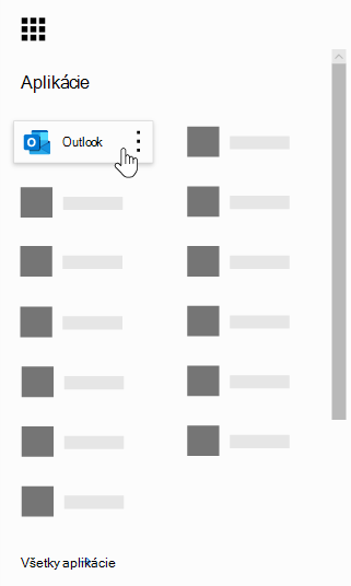 Spúšťač aplikácií v Office 365 so zvýraznenou aplikáciou Outlook