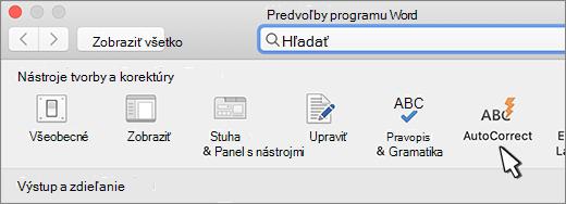 Tlačidlo automatických opráv Wordu pre Mac
