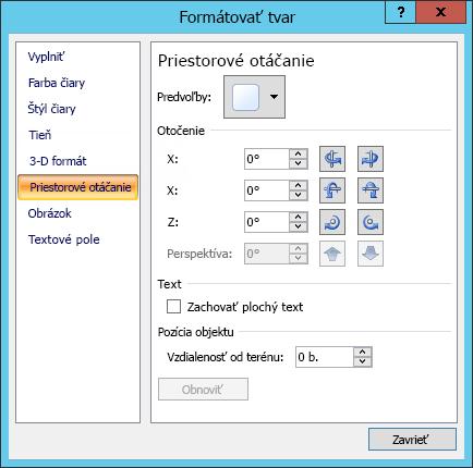 Položka Priestorové otáčanie vdialógovom okne Formátovať tvar