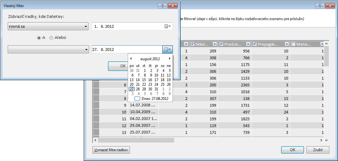 Tabla Filter v Sprievodcovi importom tabuliek