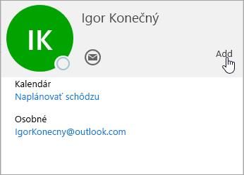 Snímka obrazovky s kartou kontaktu v službe Outlook.com.