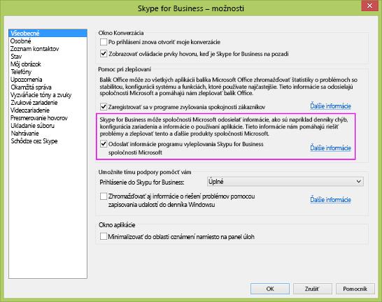 Začiarkavacie políčko na zhromažďovanie údajov Skypu for Business prístupné prostredníctvom položiek Možnosti > Všeobecné