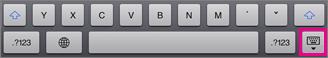Skrytie klávesnice ťuknutím na kláves klávesnice v pravom dolnom rohu