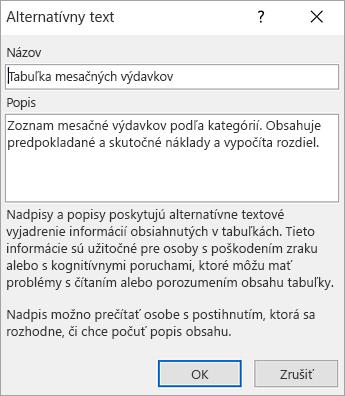 Snímka obrazovky s dialógovým oknom Alternatívny text