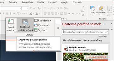 Tlačidlo opätovné použitie snímok a tabla otvoriť v PowerPointe