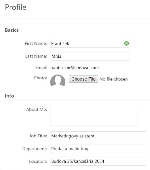 Snímka obrazovky s úpravy Yammer používateľského profilu