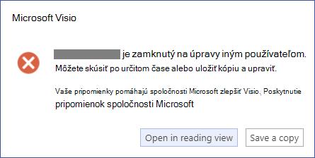 Okno s hlásením s popisom chyby uzamknutia.