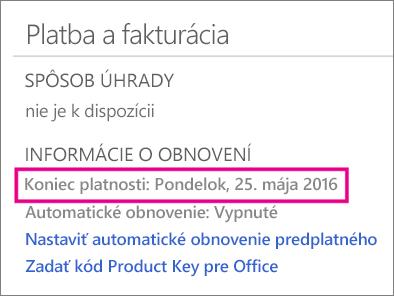 Platba a fakturácia za používanie OneDrivu