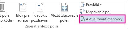 Tlačidlo Aktualizovať menovky