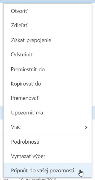 Pripnutie položky do popredia v knižnici dokumentov