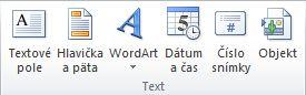Skupina Text na karte Vložiť na páse s nástrojmi PowerPointu 2010.