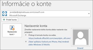 Snímka obrazovky so stránkou Informácie o konte Outlooku v zobrazení Backstage.