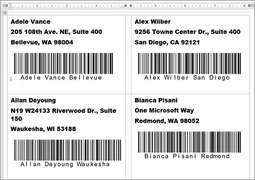 Snímka s niektorými menovkami s adresou a čiarovým kódom