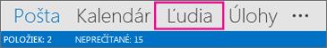 Navigačný panel Outlooku – Ľudia