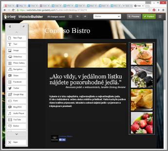 Príklad bočného panela v nástroji lokality GoDaddy určeného na navrhovanie webovej lokality