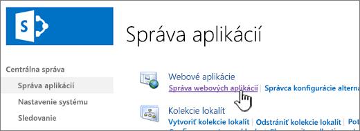 Otvorenie nastavení webovej aplikácie