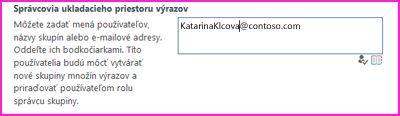 Snímka obrazovky textového poľa Správcovia ukladacieho priestoru výrazov v centre správy služby SharePoint. V tomto poli môžete zadať meno osoby, ktorú chcete pridať ako správcu.