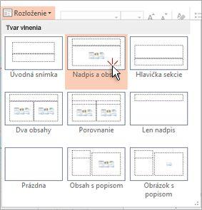 Výber a použitie rozloženia na snímku