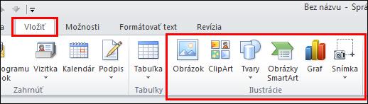 Možnosť Vložiť obrázok v Outlooku 2010