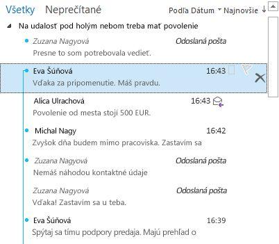 Príklad konverzácie s úplne rozbalenými rozdeleniami v zozname správ