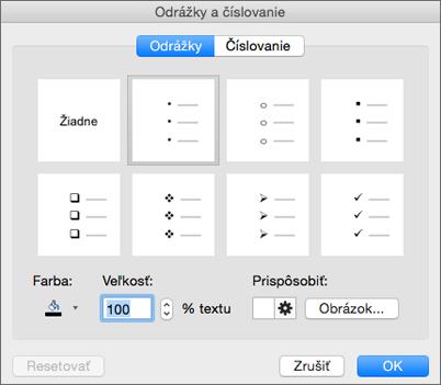 Dialógové okno odrážok a číslovania v Office pre Mac