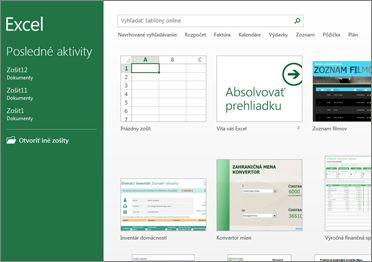 Niektoré zo šablón dostupných v Exceli