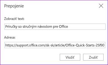 Dialógové okno hypertextového prepojenia pre OneNote Online.